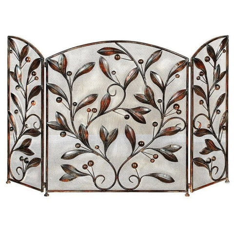 Benzara 71889 Metal Fireplace Screen With Leaf Design