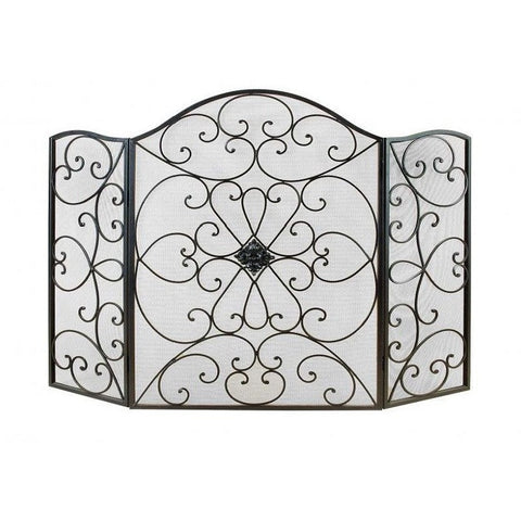 Benzara 21626 Mesh & Scroll Metal Fireplace Screen