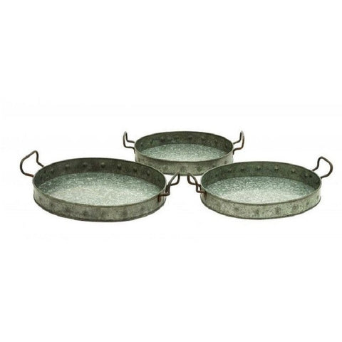 Benzara 38183 Set of 3 Galvanized Trays