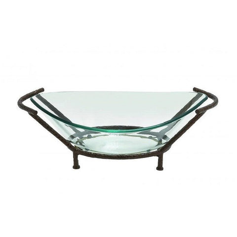 Benzara 68541 Oval Shaped Glass Bowl with Metal Stand
