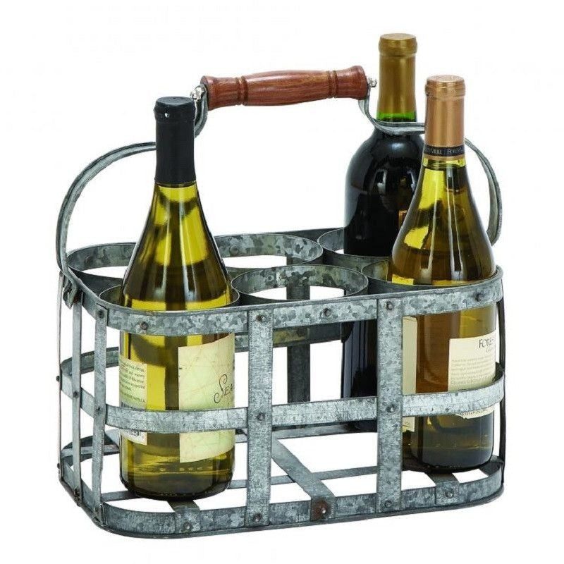 Benzara 38153 Rustic New Metal Wine Holder