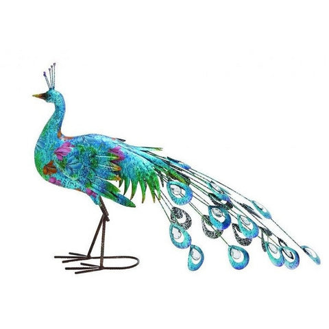 Benzara 55238 Metal Crafted Vibrant Shade Peacock Decor
