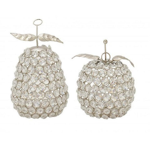 Benzara 2 Piece Decorative Bead Apple Pear Sculpture Set 37015
