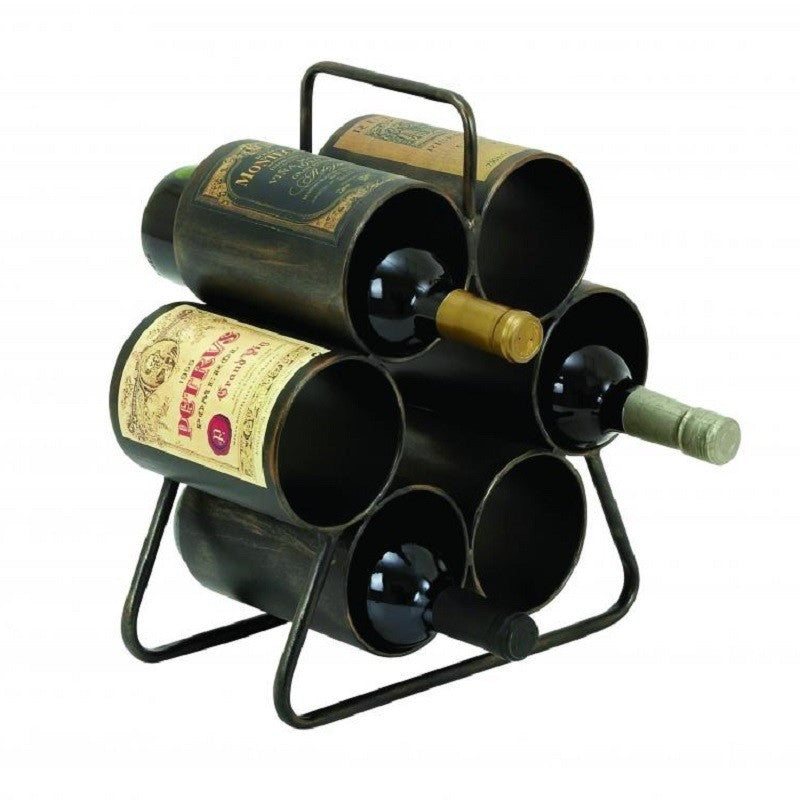 Benzara 34885 Metal Wine Rack for Six Bottles