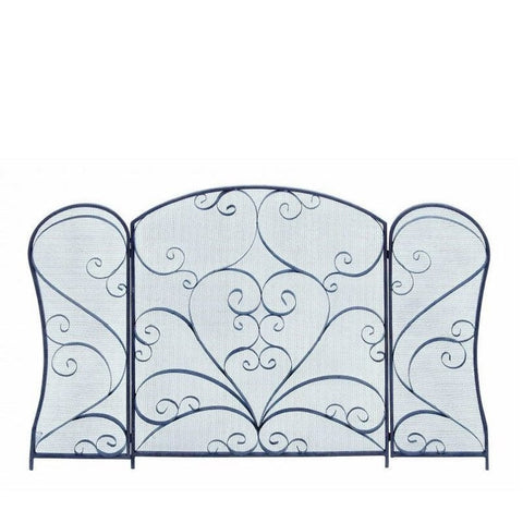 Benzara 63379 Scroll Design Metal Fire Screen