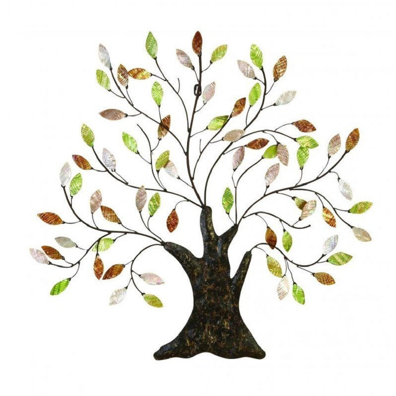 Benzara 13074 Metal Tree Capiz Leaves Wall Art Sculpture
