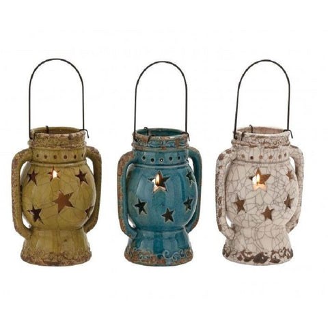 Benzara 76373 Set of 3 Star Cut Out Ceramic Lanterns , Home & Garden > Decor > Home Fragrance Accessories > Candle Holders - Benzara Inc, Ruby Skies At Night