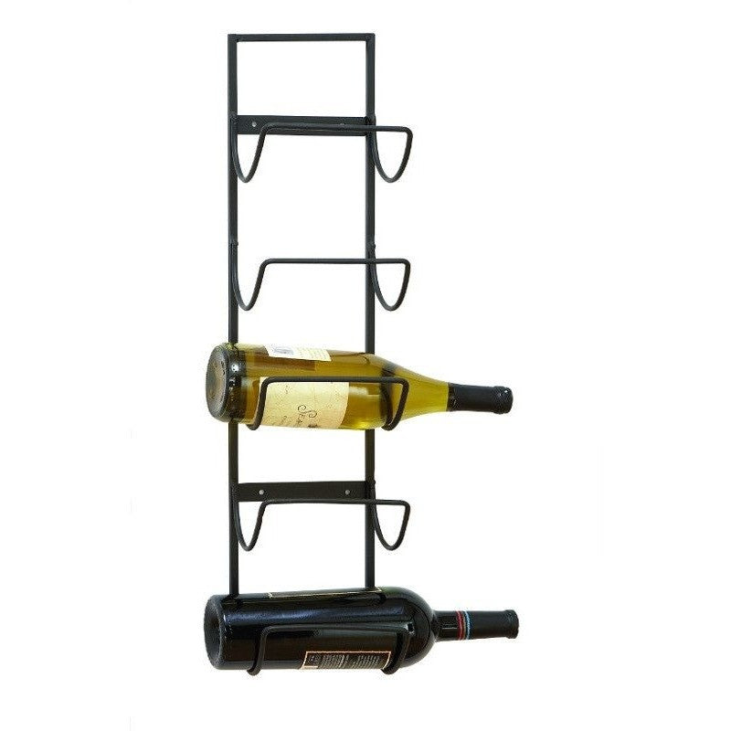 Benzara 63329 Rustic Metal Wall Wine Rack holds 5 Bottles