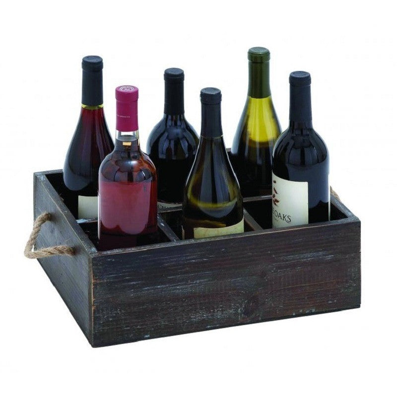 Benzara 92328 Wood Crafted Wine Tray with Six Storage Compartments