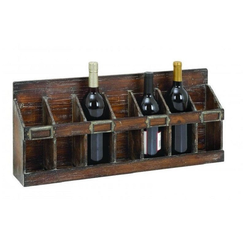 Benzara 54417 Distressed Wood Wall Wine Rack