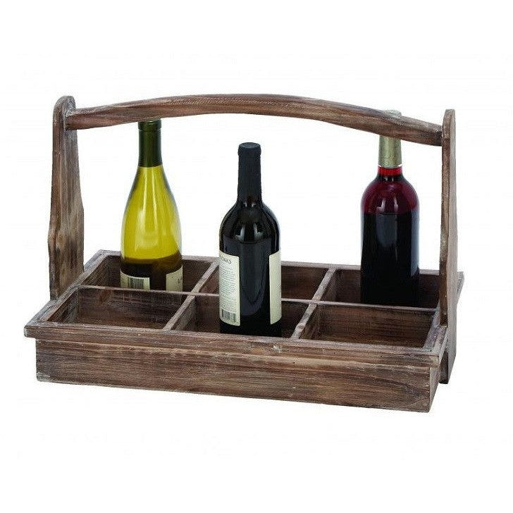 Benzara 66788 Portable Wine Bottle Basket With Aged Wood