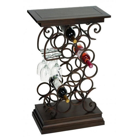 Benzara 68051 Swirl Design Wine Bar Table Rack