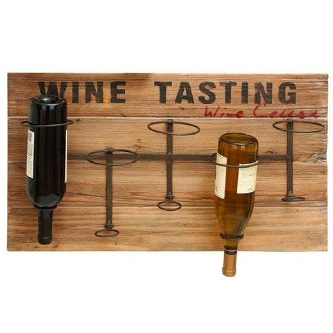 Benzara 55844 Wood & Metal Wall Wine Rack