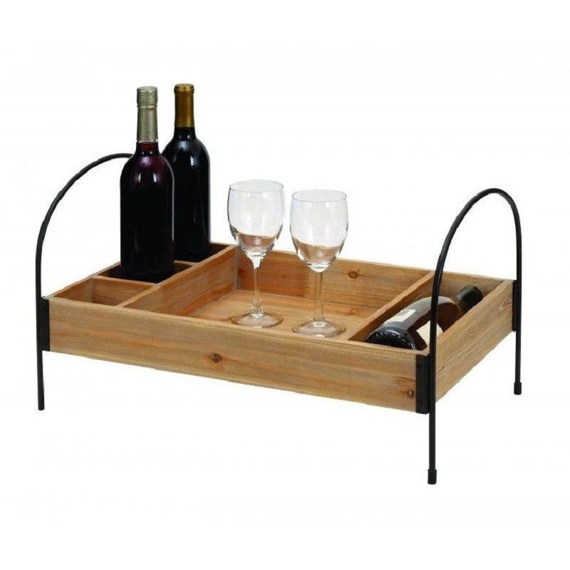 Benzara 93709 Wood Metal Wine Tray in Elegant Design