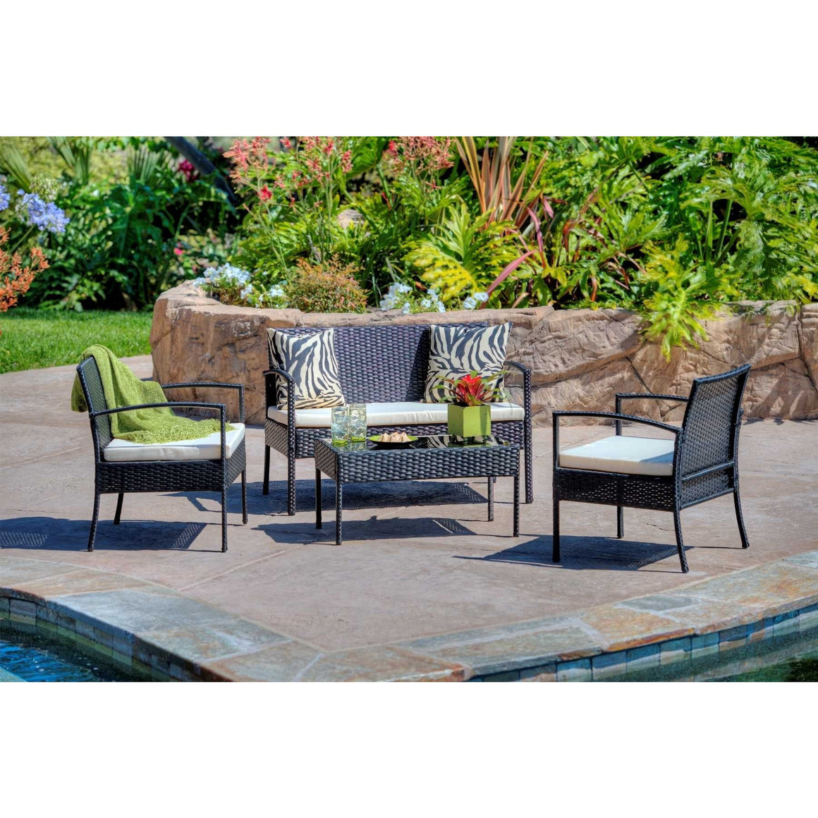 W Unlimited Outdoor Black Furniture 4PC set w/ Table Beige Cushions