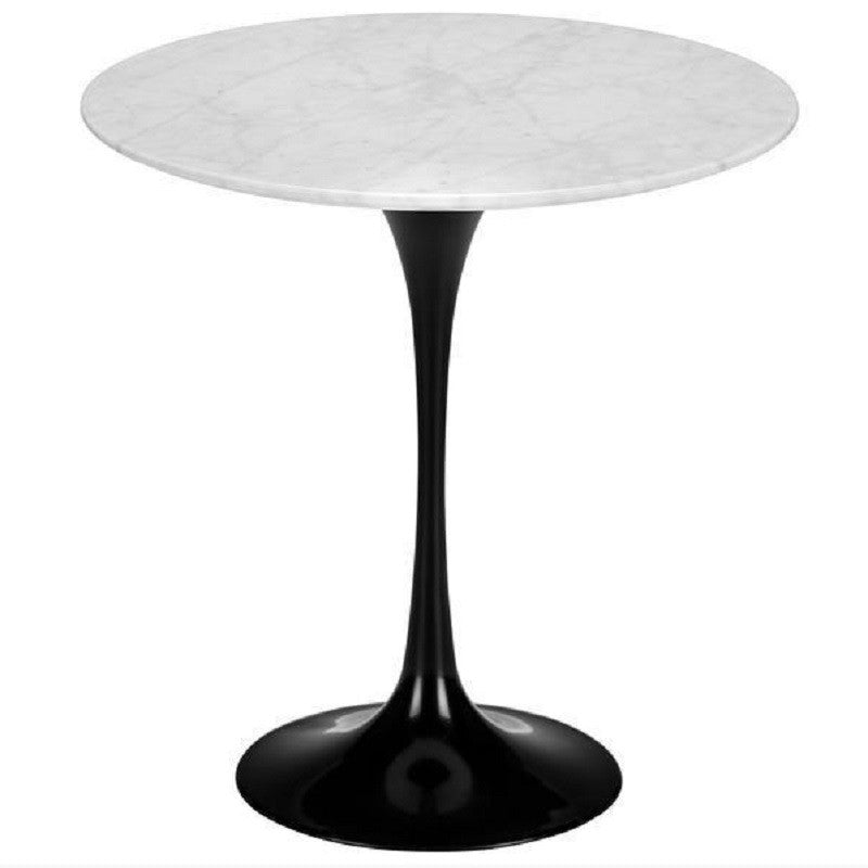 "EdgeMod Daisy 20"" Marble Side Table in Black Base EM-142-BLK"