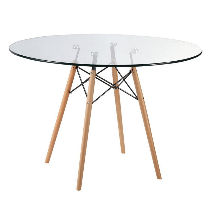 "Vortex 42.5"" Glass Top Dining Table with Natural Legs"