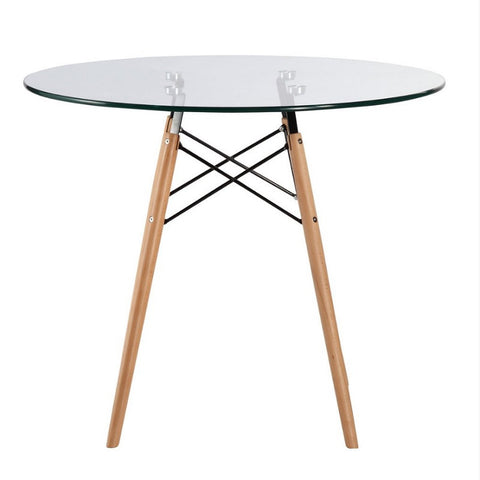 "Vortex 36"" Glass Top Dining Table with Natural Legs"