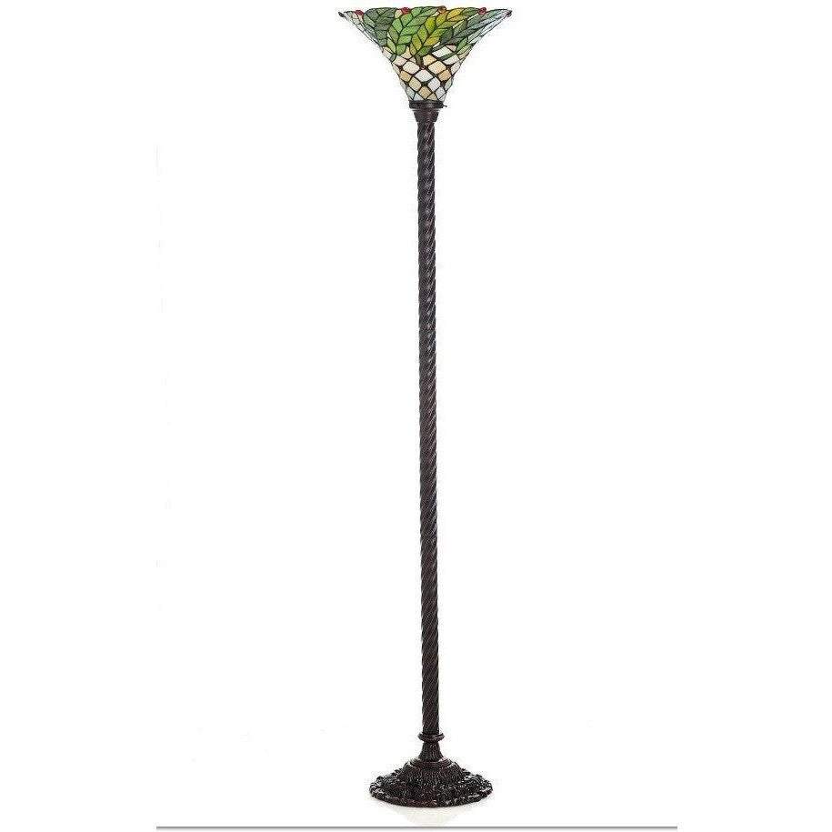 Warehouse of Tiffany 3742#+BB75B Stained Glass Green Leaf Torchiere Floor Lamp