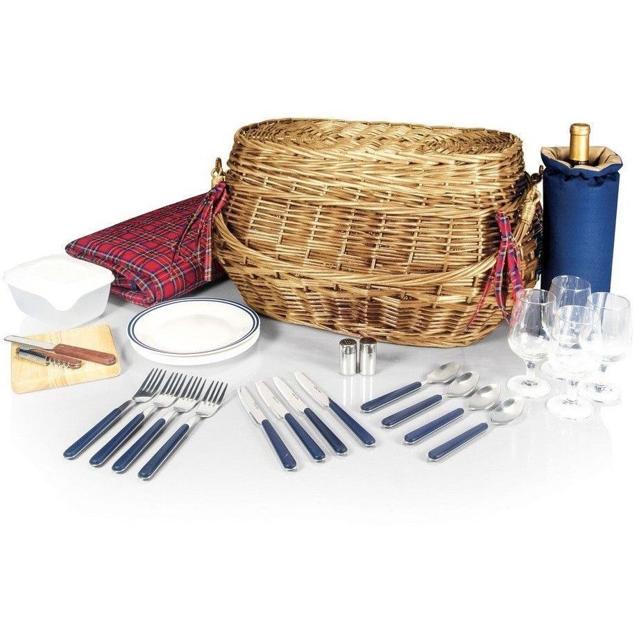 Picnic Time Highlander Willow Picnic Basket 302-55-401 , Home & Garden > Kitchen & Dining > Food & Beverage Carriers > Picnic Baskets - Picnic Time, Ruby Skies At Night - 1