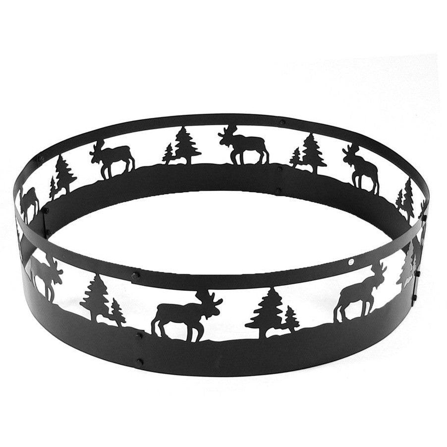 "Sunnydaze 36"" Wild Moose Outdoor Campfire Ring FRM101 , Home & Garden > Fireplaces - Sunnydaze, Ruby Skies At Night - 1"