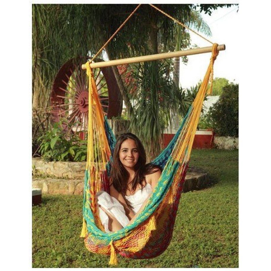 Sunnydaze Extra Large Mayan Chair Hammock with Wood Bar - MultiColor , Home & Garden > Lawn & Garden > Outdoor Living > Hammocks - Sunnydaze, Ruby Skies At Night