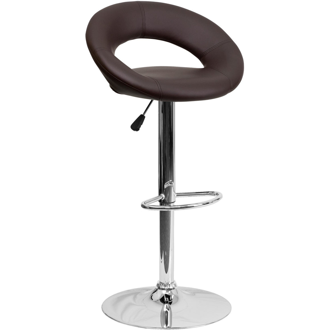 Brown Vinyl Rounded Back Barstool with Chrome Base