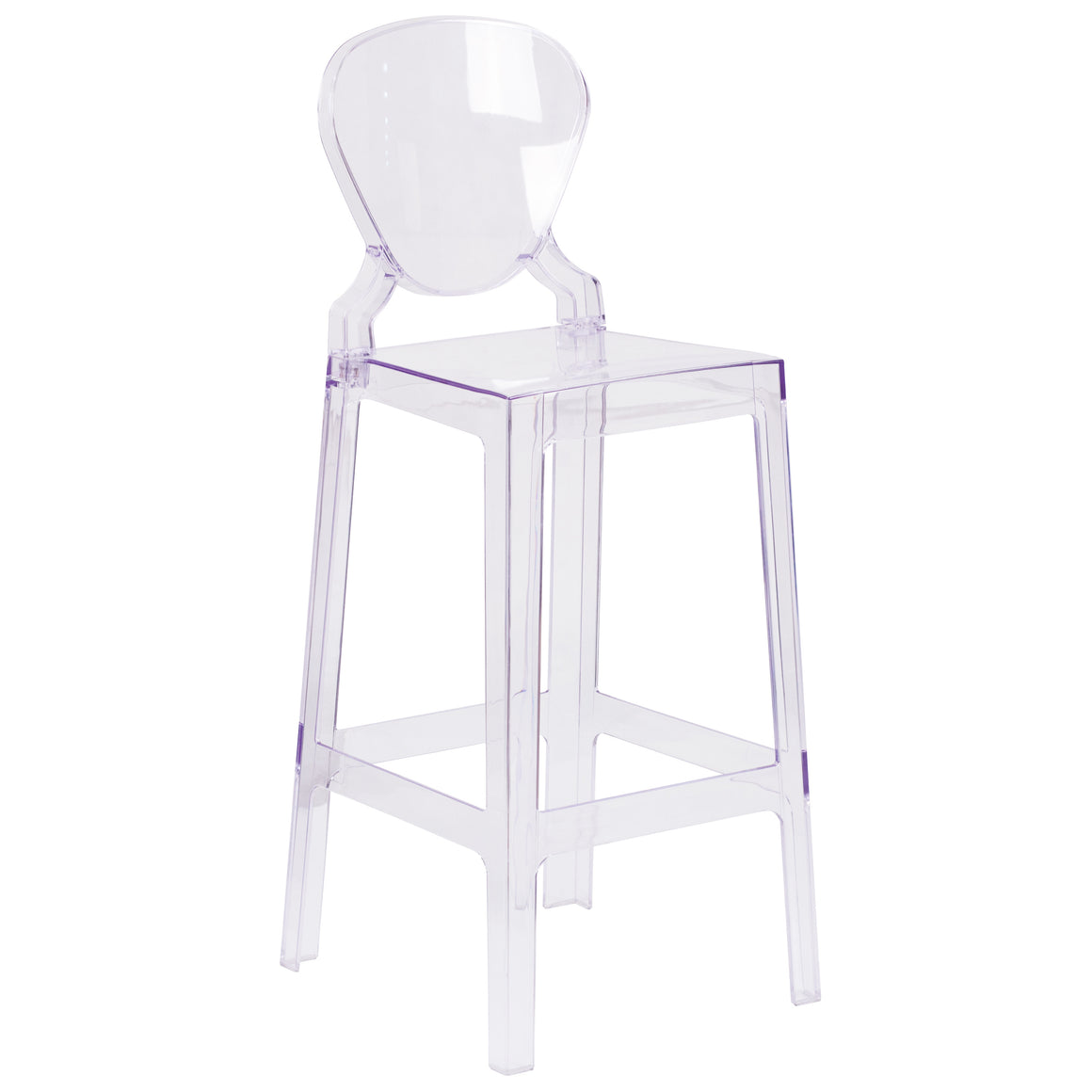 Flash Furniture Ghost Barstool in Transparent Crystal with Tear Back