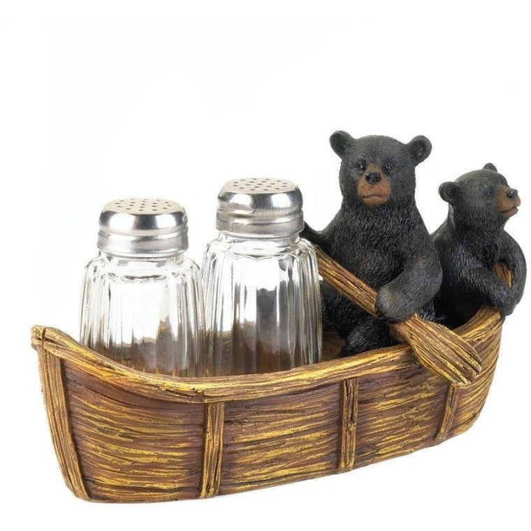 Koehler Black Bear Canoe Salt & Pepper Holder 10017739