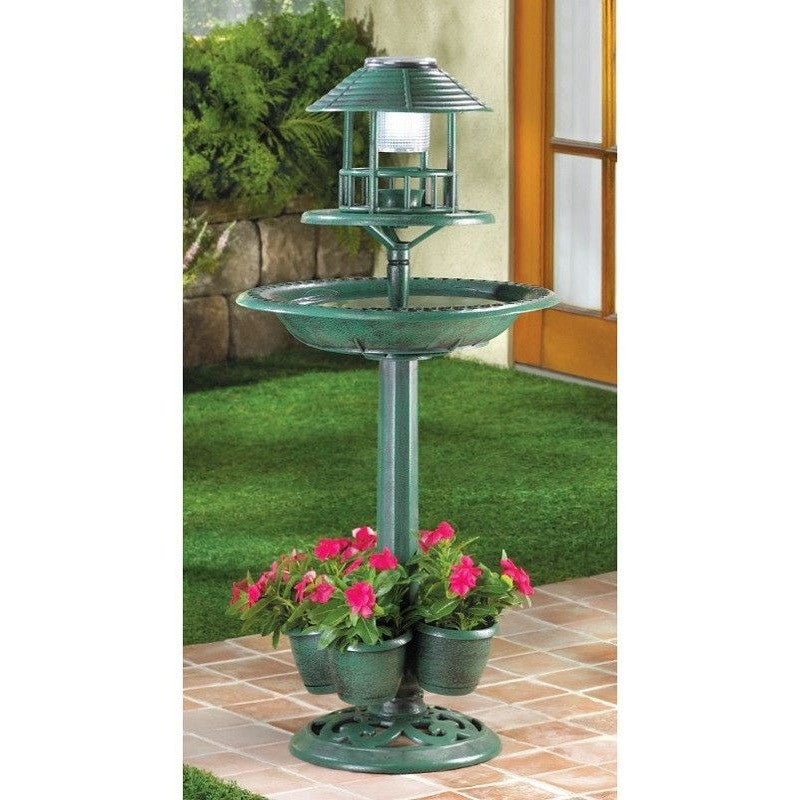 Verdigris Solar Birdbath Planter , Home & Garden > Decor > Bird Baths - Koehler, Ruby Skies At Night - 1