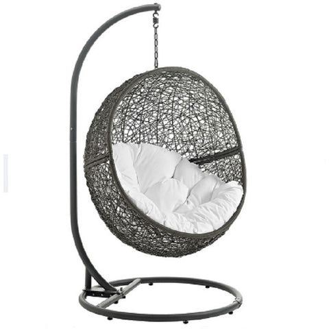 Modway Furniture Hide Patio Swing Chair With Stand Gray White