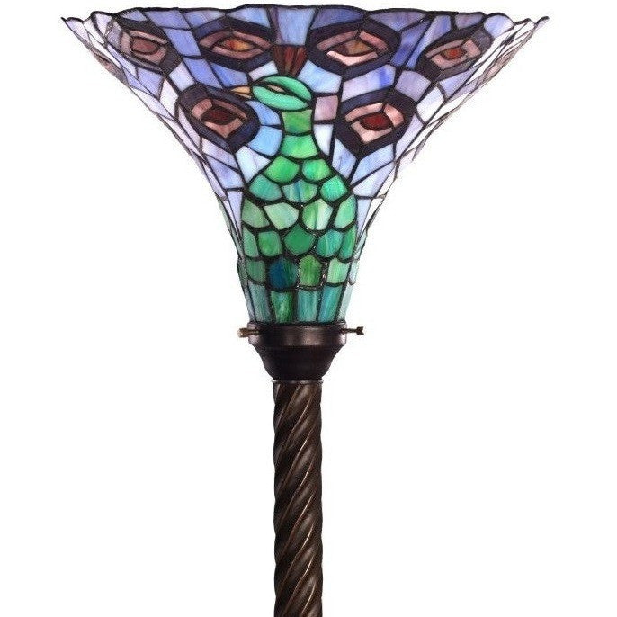 Warehouse Of Tiffany 1125+BB75B Peacock Torchiere Floor Lamp Stained Glass  ...