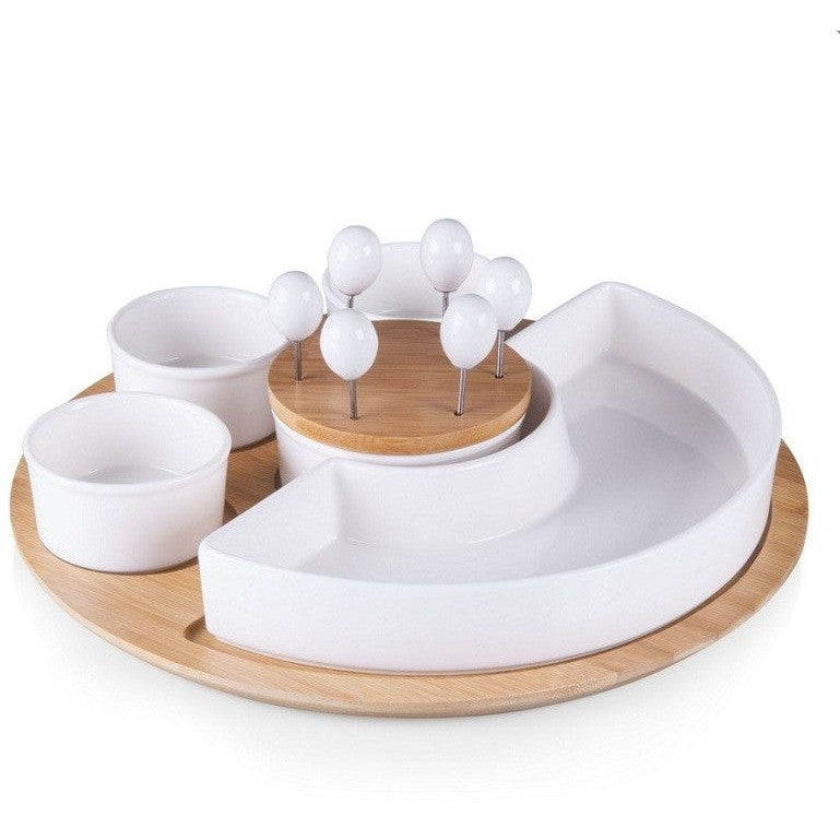 Picnic Time Symphony Appetizer Serving Set 949-13-505 , Home & Garden > Kitchen & Dining > Tableware > Serveware > Serving Trays - Picnic Time, Ruby Skies At Night - 1