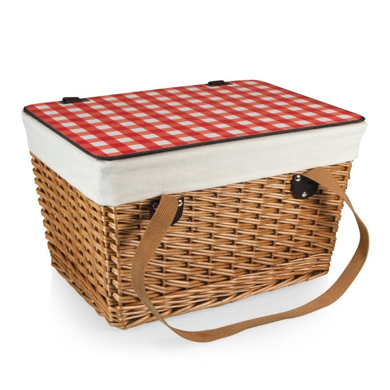 Picnic Time Canasta-Natural Flat Lid Basket Willow Red Check Lid 118-00-300