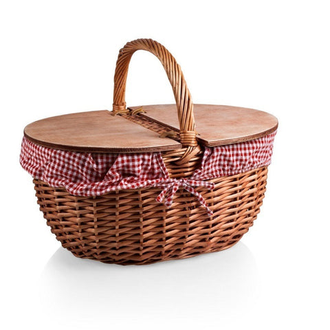Picnic Time Willow Country Basket White Gingham Liner 138-00-300