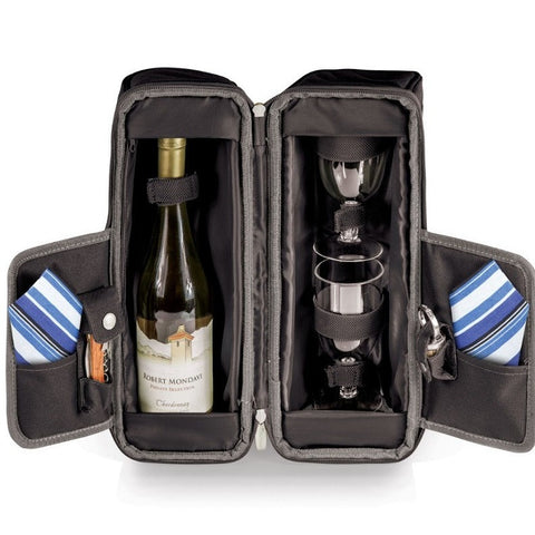 Picnic Time Estate Wine Tote 514-49-521 Black and Grey w/Blue Stripe