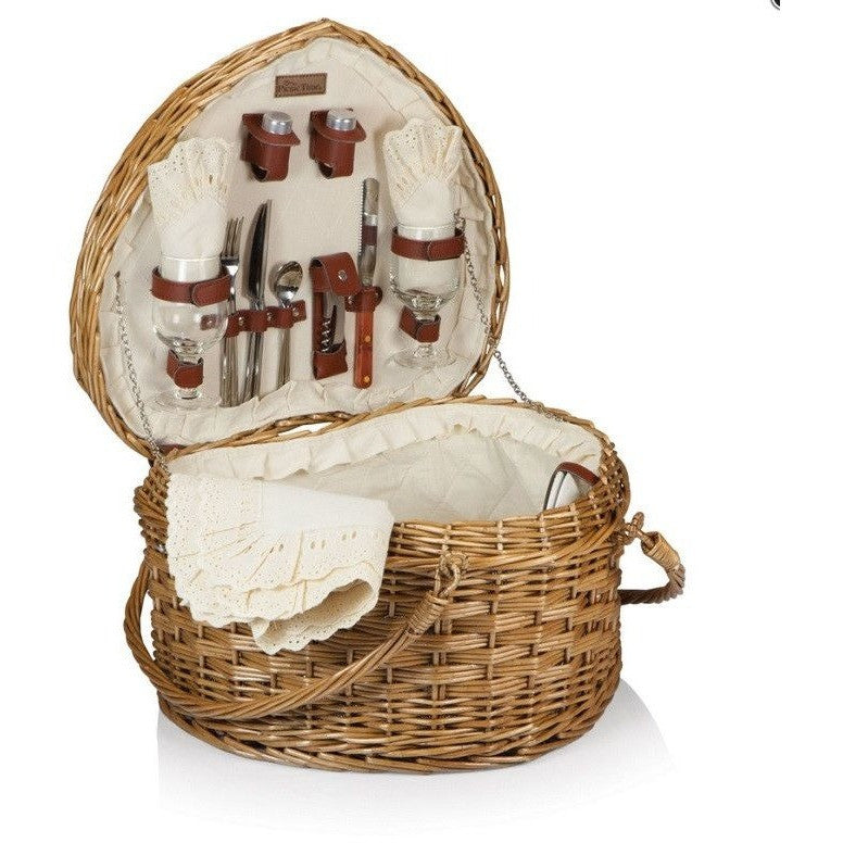 Picnic Time Heart Picnic Basket Set with Antique White Lining 329-35-190 , Home & Garden > Kitchen & Dining > Food & Beverage Carriers > Picnic Baskets - Picnic Time, Ruby Skies At Night