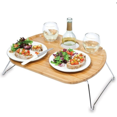 Picnic Time Mesamio Bamboo Wine Table Tray 841-00-505 , Home & Garden > Kitchen & Dining > Tableware > Serveware > Serving Trays - Picnic Time, Ruby Skies At Night - 1