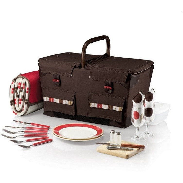 Picnic Time Pioneer Picnic Basket Set - Moka 348-76-777 , Home & Garden > Kitchen & Dining > Food & Beverage Carriers > Picnic Baskets - Picnic Time, Ruby Skies At Night - 1