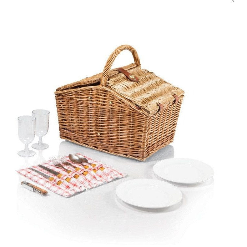 Picnic Time 202-19-114 Piccadilly Lined Double Lid Picnic Basket