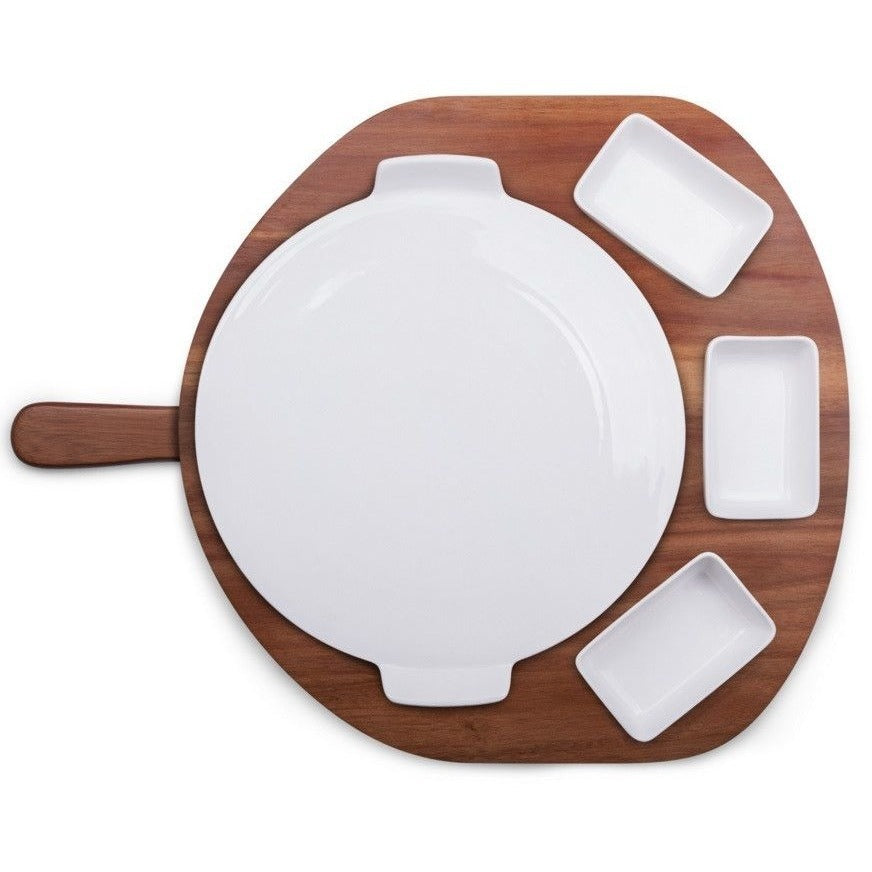 Picnic Time 5 Piece Pizza Preparation Station Set 825-00-512 , Home & Garden > Kitchen & Dining > Tableware > Serveware > Serving Trays - Picnic Time, Ruby Skies At Night - 1