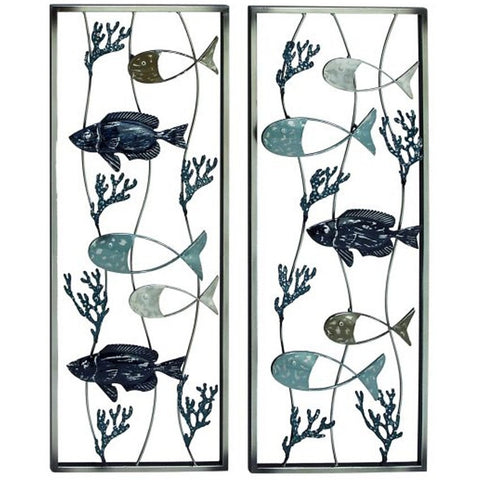 Benzara Inc 23473 Set of 2 Fish Metal Wall Art