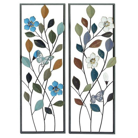 Benzara 23483 Set of 2 Beautiful Metal Wall Art Leaf Flowers