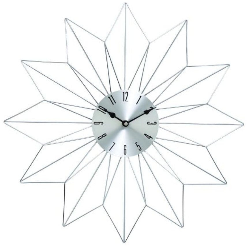 Benzara 85510 Metal Silver Wall Clock