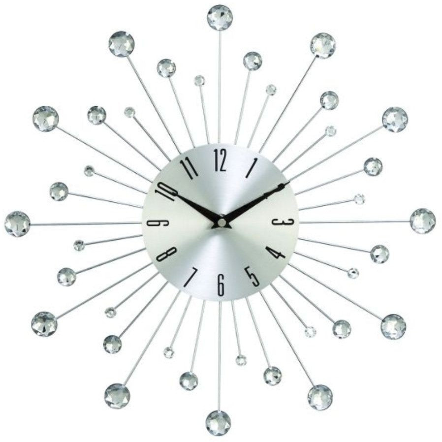"Benzara 85516 Sunburst Crystals Metal Wall Clock 15""D"