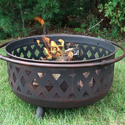 Sunnydaze Outdoor Backyard Patio Bronze Cross weave Firebowl Fire Pit 610037D , Home & Garden > Fireplaces - Sunnydaze, Ruby Skies At Night - 1