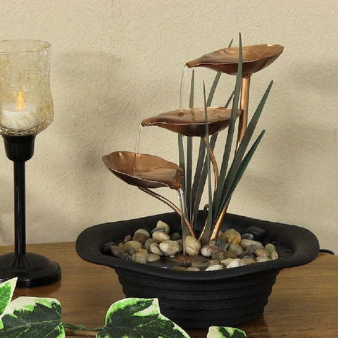 Sunnydaze Three Leaf Cascading Tabletop Fountain with LED Lights #370
