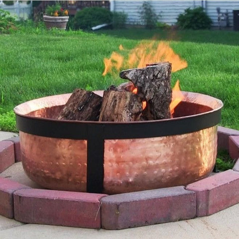Sunnydaze H101 Outdoor Hammered Copper Fire Pit , Home & Garden > Fireplaces - Sunnydaze, Ruby Skies At Night - 1