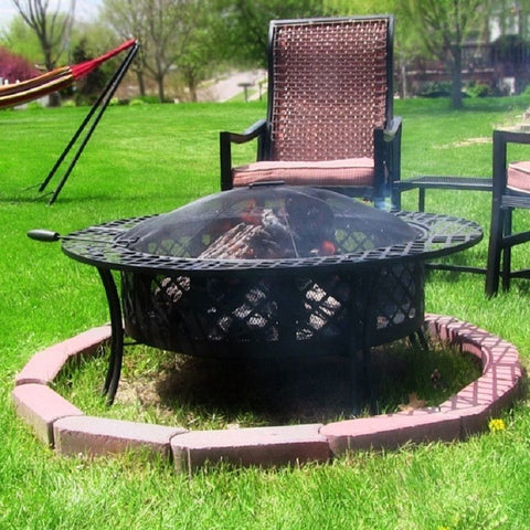 Sunnydaze LG427 Outdoor Diamond Weave Fire Pit , Home & Garden > Fireplaces - Sunnydaze, Ruby Skies At Night - 1