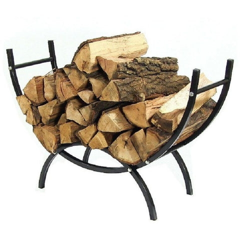 "Sunnydaze 36"" Curved Firewood Log Rack Stand Black QX36CLR"